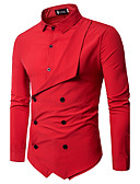 cheap Men's Shirts-Men's Chinoiserie Slim Shirt - Solid Colored Basic Classic Collar / Long Sleeve