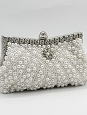 cheap Mother of the Bride Dresses-Women's Bags Satin Evening Bag Beading / Crystals / Pearls White / Black / Beige / Wedding Bags / Wedding Bags