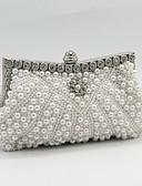 preiswerte Brautmutter Kleider-Damen Taschen Satin Abendtasche Perlenstickerei / Kristall Verzierung / Perlen Verzierung Weiß / Schwarz / Beige / Hochzeitstaschen / Hochzeitstaschen