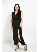 baratos Vestidos Femininos-Mulheres Tamanhos Grandes Reto Vestido Sólido Decote V Longo