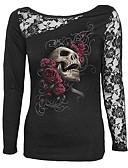 baratos Tops Femininos-Mulheres Camiseta Estampado Algodão