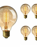 billige Herreblazere og dresser-5pcs 40 W E26 / E27 G80 Varm hvit 2200-2700 k Kontor / Bedrift / Mulighet for demping / Dekorativ Glødende Vintage Edison lyspære 220-240