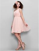 hesapli Nedime Elbiseleri-Ürün örneği A-Şekilli / Prenses Tek Omuz Diz Boyu Şifon Kurdeleler / Yan Drape ile Nedime Elbisesi tarafından LAN TING BRIDE®