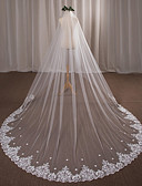cheap Wedding Veils-One-tier Wedding Veil Cathedral Veils with Appliques Lace / Tulle / Angel cut / Waterfall