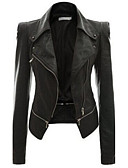 cheap Women's Leather Jackets-Women's Street chic Plus Size Leather Jacket - Solid Colored Shirt Collar / Spring / Fall
