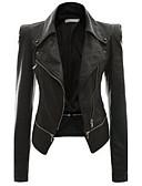 preiswerte Bluse-Damen - Solide Street Schick Übergrössen Lederjacken, Hemdkragen