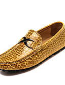 cheap Men's Jackets & Coats-Men's Driving Shoes Leather Spring / Fall Comfort Loafers & Slip-Ons Black / Dark Blue / Yellow