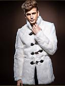 זול גברים-ג'קטים ומעילים-אחיד עומד מעיל פרווה - בגדי ריקוד גברים דמוי פרווה