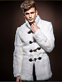 cheap Men's Jackets & Coats-Men's Faux Fur Fur Coat - Solid Colored Stand / Long Sleeve / Plus Size / Loose