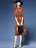 baratos Vestidos Femininos-Mulheres Tamanhos Grandes Para Noite Estilo Étnico Evasê / Tubinho / Bainha Vestido - Fenda, Geométrica Médio