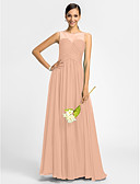 cheap Quartz Watches-Product Sample A-Line Princess Bateau Neck Floor Length Chiffon Bridesmaid Dress with Ruched Criss Cross by LAN TING BRIDE®
