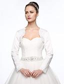 olcso Menyasszonyi ruhák-Szatén Esküvő Party / estély Női boleró With Gyöngydíszítés Rátétek Boleros
