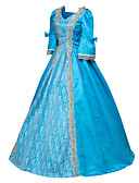 cheap Historical & Vintage Costumes-Victorian Rococo Costume Women's Dress Masquerade Party Costume Blue Vintage Cosplay Satin Long Sleeves Floor Length