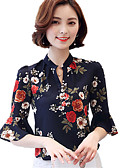 preiswerte Bluse-Damen Blumen - Boho Arbeit Übergrössen Bluse, V-Ausschnitt Druck