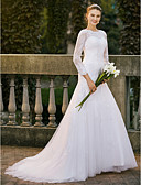cheap Wedding Dresses-A-Line Jewel Neck Sweep / Brush Train Satin / All Over Lace / Lace Over Tulle Made-To-Measure Wedding Dresses with Appliques / Lace by LAN TING BRIDE® / Illusion Sleeve / Beautiful Back