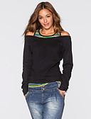 baratos Camisetas Femininas-Mulheres Camiseta - Para Noite Básico Com Corte, Sólido Algodão Solto / Belas Stripe