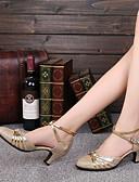 preiswerte Abendkleider-Damen Schuhe für modern Dance Glitzer Farbaufsatz Maßgefertigter Absatz Maßfertigung Tanzschuhe Gold / Rot / Innen