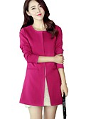 cheap Women's Coats & Trench Coats-Women's Cotton Trench Coat - Solid Colored
