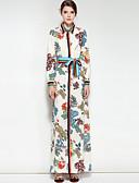 זול שמלות נשים-צווארון חולצה מקסי פרחוני - שמלה סווינג כותנה בגדי ריקוד נשים