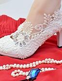 abordables Vestidos de Novia-Mujer Zapatos Encaje Semicuero Primavera Otoño Confort Zapatos de boda Dedo redondo Pedrería Perla de Imitación Apliques para Boda Fiesta