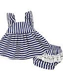 Χαμηλού Κόστους Βρεφικά σετ ρούχων-Μωρό Κοριτσίστικα Ριγέ Καθημερινά Συμπαγές Χρώμα / Ριγέ Βαμβάκι Σετ Ρούχων Λευκό