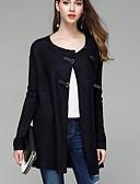 tanie Swetry damskie-Damskie Codzienny Solidne kolory Długi rękaw Regularny Sweter rozpinany, Okrągły dekolt Jesień Granatowy / Wino M / L / XL