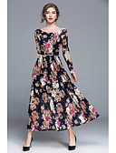 cheap Vintage Dresses-Women's Street chic Swing Dress - Floral Maxi