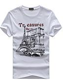 baratos Camisetas & Regatas Masculinas-Homens Tamanhos Grandes Camiseta Estampado Algodão Decote Redondo