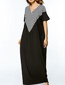 baratos Vestidos de Mulher-Mulheres Para Noite Solto Vestido Listrado Decote V Longo