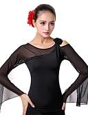 cheap Ice Skating Dresses , Pants & Jackets-Ballroom Dance Tops Women's Performance Ice Silk Flower Long Sleeves Top