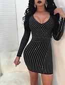 זול שמלות נשים-בגדי ריקוד נשים סגנון רחוב מכנסיים - טלאים שחור שחור / Party / צווארון V / מיני / מועדונים / סקסית