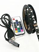olcso Sportos óra-zdm 100cm usb 5v fekete vízálló 15w 5050 rgb led fénycsík 17key rf vezérlővel (dc5v) tv háttér hangulatjelző lámpa