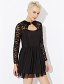 cheap Women's Dresses-Women's Cotton A Line Dress - Solid Colored High Rise V Neck / Summer / Lace