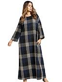 povoljno Ženske haljine-Žene Tunika Haljina Karirani uzorak Maxi
