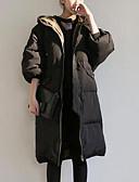cheap Quartz Watches-Women's Going out Classic Style Solid Colored Plus Size Zipper Long Down, Cotton Long Sleeve Winter Black XL / XXL / XXXL / Skinny