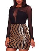 זול שמלות נשים-גיזרה גבוהה מיני פאייטים / רשת, טלאים - שמלה צינור Party / מועדונים בגדי ריקוד נשים / אביב / סתיו / סקיני