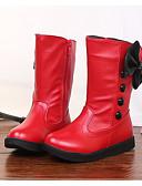 preiswerte Damen Kleider-Mädchen Schuhe PU Herbst / Winter Komfort / Schneestiefel Stiefel Walking Schleife für Weiß / Schwarz / Rot / Mittelhohe Stiefel