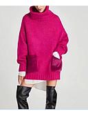 tanie Swetry damskie-Damskie Codzienny Solidne kolory Długi rękaw Długie Pulower, Golf Zima Czerwony / Beżowy / Jasnoszary S / M