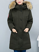 cheap Women's Fur & Faux Fur Coats-Women's Basic Cotton Long Padded - Solid Colored, Fur Trim Hooded