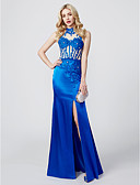 cheap Evening Dresses-Sheath / Column High Neck Floor Length Jersey / Beaded Lace See Through Cocktail Party / Prom / Formal Evening Dress with Beading / Appliques / Split Front by TS Couture®