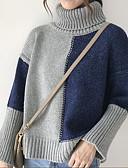preiswerte Damen Pullover-Damen Alltag Einfarbig Langarm Standard Pullover, Rollkragen Herbst Beige / Grau Einheitsgröße