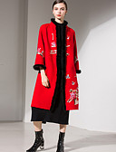 cheap Women's Sweaters-Women's Going out Street chic / Sophisticated Long Coat - Lolita, Stylish / Fur Trim / Embroidery Stand