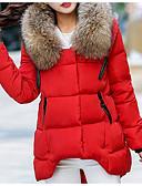 abordables Parkas y Plumas de Mujer-Mujer Chic de Calle Con Capucha Acolchado Un Color Piel Sintética / Otoño / Invierno