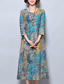 cheap Women's Dresses-Women's Chinoiserie Loose Dress - Floral Blue, Print / Summer