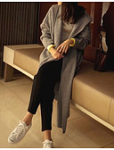 cheap Women's Sweaters-Women's Long Sleeves Cotton Long Cardigan - Solid Colored Hooded