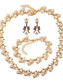 baratos Vestidos Estampados-Mulheres Conjunto de jóias - Imitação de Pérola Formato de Folha Fashion, Elegante Incluir Dourado Para Casamento Festa / Brincos