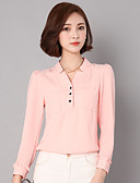 baratos Vestidos Femininos-Mulheres Camisa Social Sólido Algodão Decote V