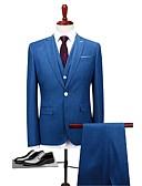 זול בלייזרים וחליפות לגברים-כחול גזרה רגילה פוליאסטר חליפה - דש רשמי צווארון מתקפל Single Breasted One-button