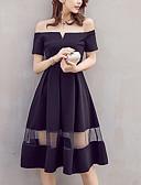 baratos Vestidos de Mulher-Mulheres Para Noite Vestidinho Preto Vestido - Com Transparência, Sólido Decote Canoa Altura dos Joelhos Preto