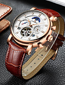 cheap Mechanical Watches-Men's Mechanical Watch Swiss Calendar / date / day / Chronograph / Water Resistant / Water Proof Genuine Leather Band Luxury / Casual / Fashion Black / Brown / Stainless Steel / Hollow Engraving